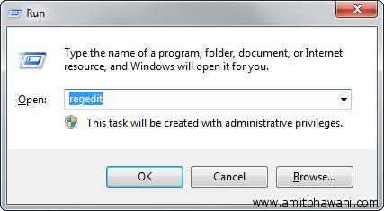 Windows Run Box Regedit