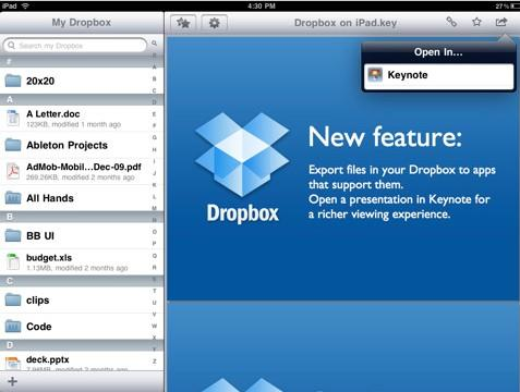 Dropbox for ipad