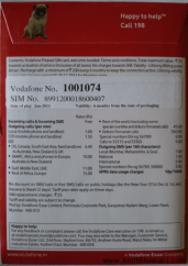 Vodafone MNP Pack Back