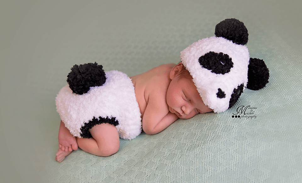 Crochet Newborn Fuzzy Panda Hat and Diaper Cover Set with ...