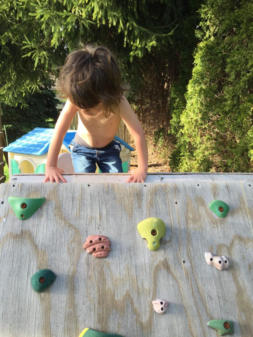eli's climbing wall // a monkey and his mama