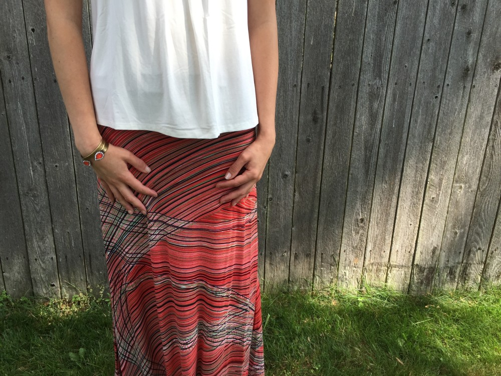 kira printed maxi skirt, renee c and diller crochey sleeve knit top, market & spruce from my July 2016 Stitch Fix // a monkey and his mama