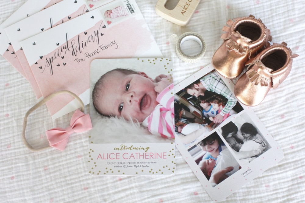 feminine gold foil girl birth announcements