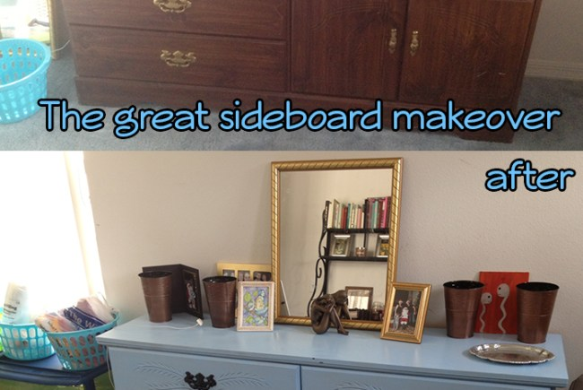Sideboard project - made over with two cans of Valspar spraypaint