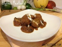 Stuffed meatballs - only three ingredients! 16 oz ground pork, 8 oz cream cheese, 1 envelope Lipton Recipe Secrets Vegetable Dip mix. SO GOOD