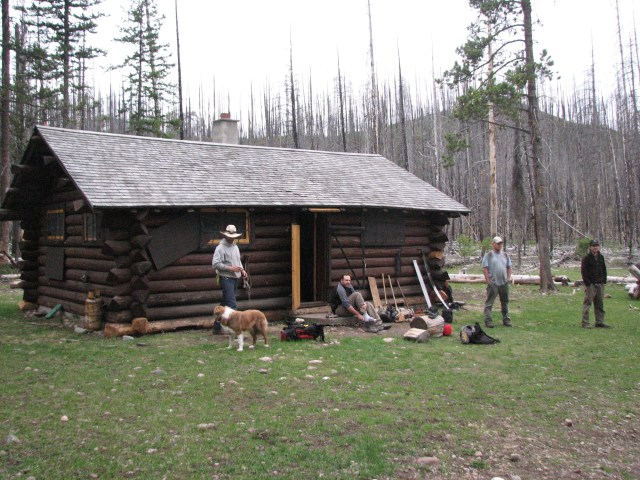 Salmon Forks Guard Station - A recent fire burned down most of the trees around the cabin.