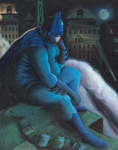 A drawing of a very fat Batman brooding on a rooftop.