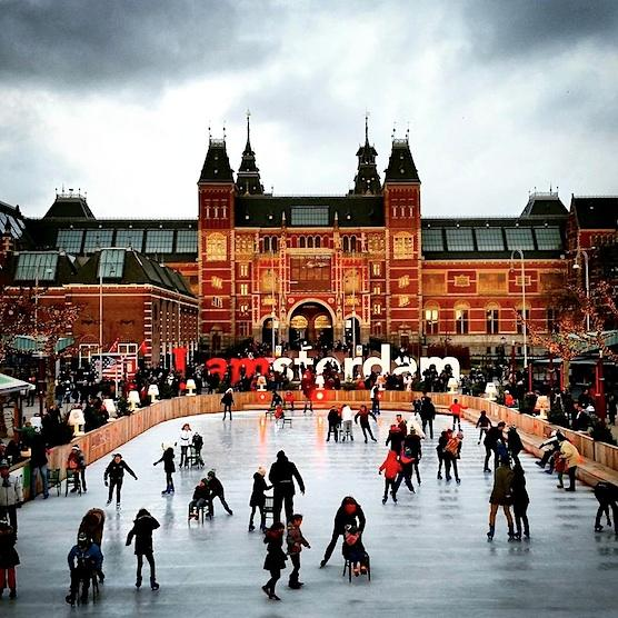 Ice skating in Amsterdam. In front of the Rijksmuseum.