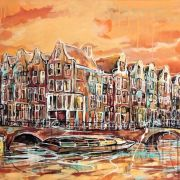 Amsterdam-Souvenir-Art-Painting-Canals-Postcards-Orange-small
