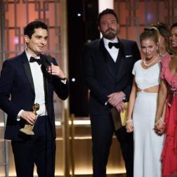 Damien Chazelle en la ceremonia de los Golden Globes 2017