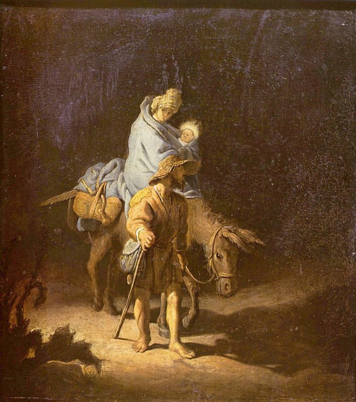 """""""Huida a Egipto"""" óleo atribuido a Rembrandt (1627). Museo de Bellas Artes de Tours, Francia. La escena transcurre de noche, lo que permite situarla al principio de la huida, según el relato evangélico. (Public Domain)"""