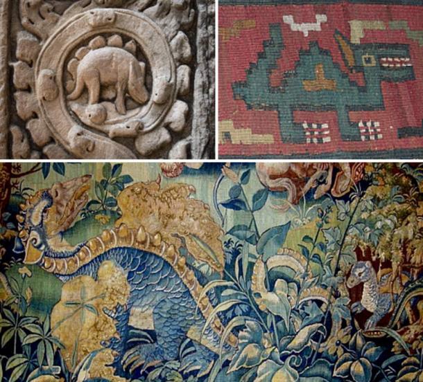 In alto a sinistra: Bassorilievo di Angkor Wat, in Cambogia (1186 dC).  In alto a Destra: tessile da Nazca, Perù (700 dC).  In basso: Tapestry nel Castello di Blois (1500 dC)
