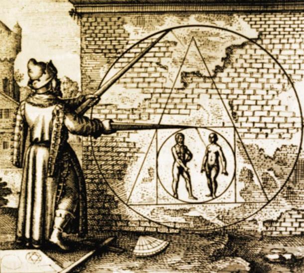 """""""La cuadratura del círculo"""", Atalanta fugiens, XXI emblema de Michael Maier, 1618"""