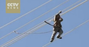 Watch: Daredevil workers not afraid to work on China's high-rise power towers