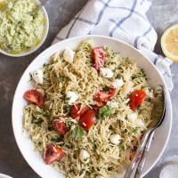 Light Caprese Spaghetti with Creamy Pesto Sauce
