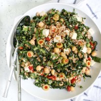 Farro Salad with Kale, Sun Dried Tomatoes, and Chickpeas