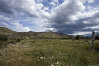 Ромашковое поле, горы и облака.