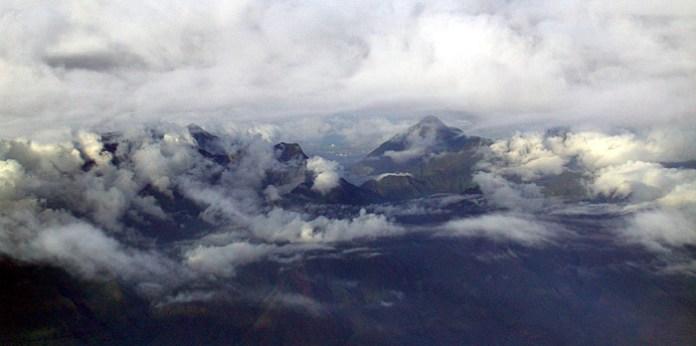 Вулкан Haleakala на острове Мауи. Вид из самолета
