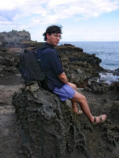 На лавовой площадке в ожидании извержения океанского фонтана.