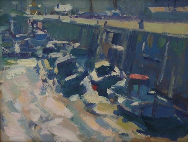 Boats in the harbour, Scarborough. Oil on mdf panel, 30cm x 22cm