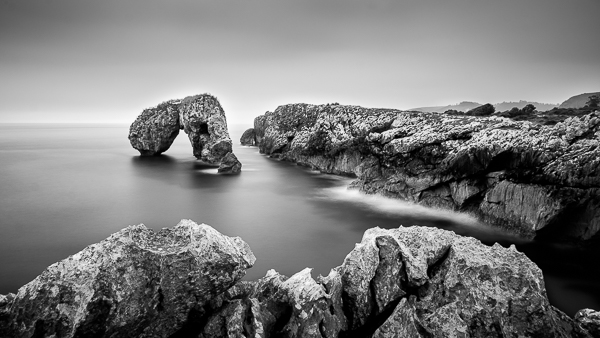 Black and white landscape photo Asturias