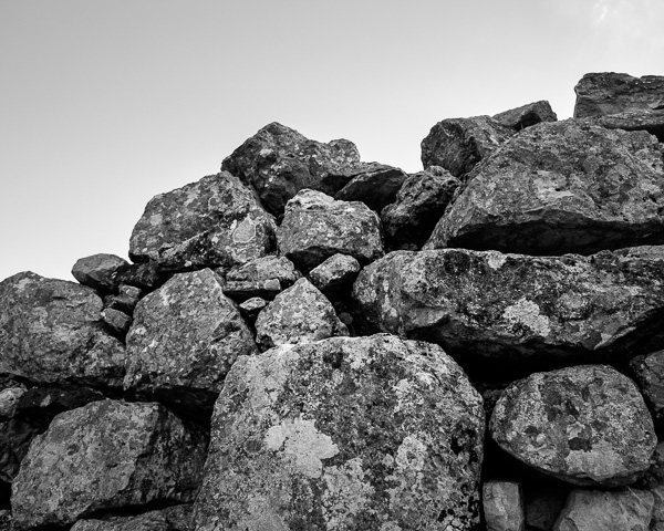 Detail of stone wall in black & white taken in Andalusia, Spain.