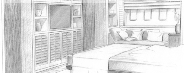 My sketch. I helped in the specification + project management  + selection of finishes, fabrics, fittings etc.