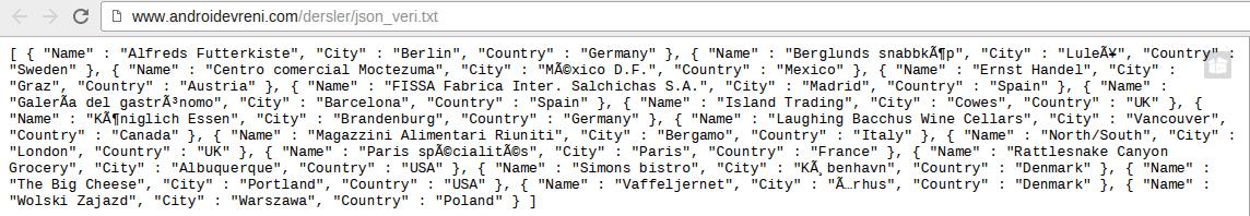 Android te JSON Veriyle Çalışmak - JSON Veri
