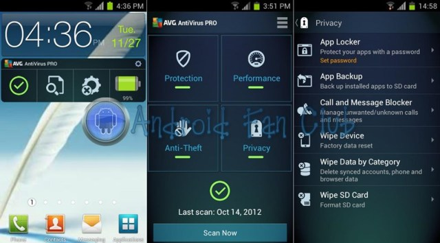 AVG Mobile AntiVirus Security PRO for Android smartphones & tablets