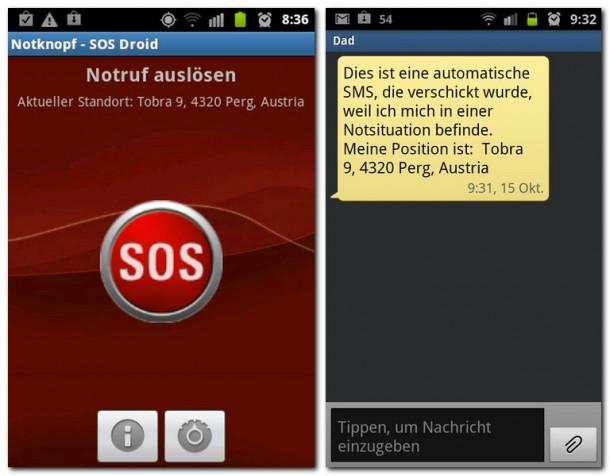Mit einem Klick auf den Notknopf wird automatisch eine SMS mit dem Standort an ein vorher hinterlegte Telefonnumer verschickt.