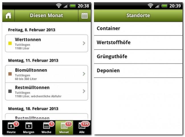 Die App Abfall+ informiert euch über die nächsten Müllabfuhrtermine und weist euch den Weg zu den Wertstoffhöfen in eurem Landkreis.