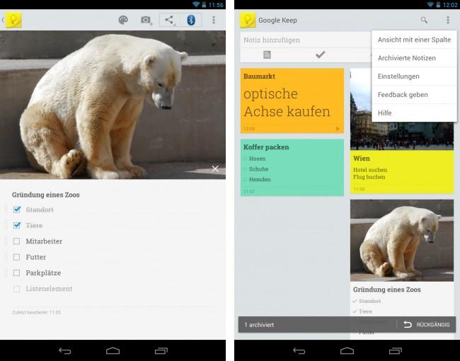 Mit Google Keep kannst du Textnotizen, Fotos und Sprachaufnahmen verwalten – und diese Daten in der Wolke speichern.