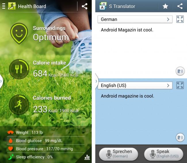 """S-Health: Gemäß dem S4-Slogan """"Life Companion"""" ist die App """"S Health"""" vorinstalliert. Mit entsprechendem Zubehör lassen sich Körperfunktionen und Aktivitäten tracken."""