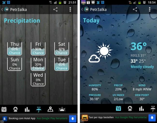 Neben dem Wetter, der Temperatur und der Lutfeuchtigkeit zeigt 1Weather auch die Regenwahrscheinlichkeit an.