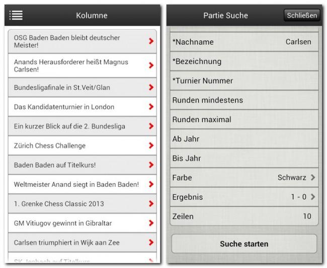 Die App Schach News informiert dich über Neuigkeiten aus der Schachwelt und erlaubt dir das Durchstöbern einer umfangreichen Turnierdatenbank.