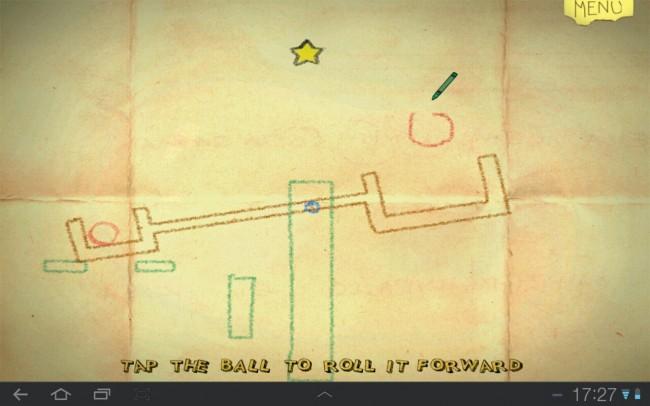 Jedes Objekt, das du zeichnest, wird sobald du den Finger vom Display nimmst, in ein Spielelement umgewandelt, das ebenfalls den Gesetzen der Schwerkraft gehorcht.
