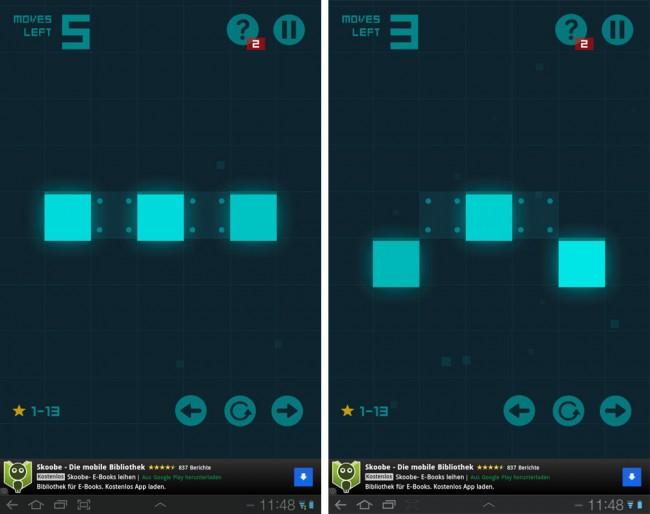Du sollst diese drei hellblauen Blöcke in fünf Zügen in eine Reihe bringen: Du ziehst also den äußerst rechten nach unten, den äußerst linken ebenfalls, dann ziehst du den mittleren nach unten und schließlich jeden der beiden äußeren ein Feld zur Mitte.