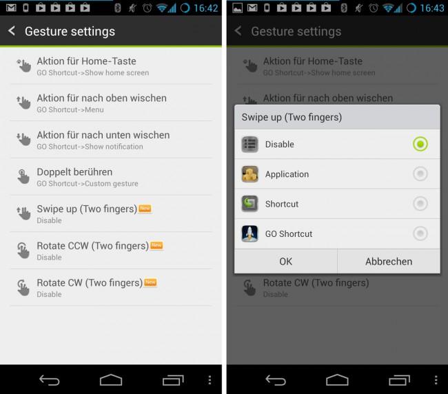Neu hinzu gekommen sind außerdem spezielle Gesten, die sich mit zwei Fingern auslösen lassen und als Shortcuts zu diversen Apps oder GO Launcher-Menüs genutzt werden können.