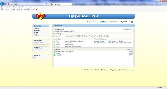 Die FRITZ!Box 3390 lässt sich ganz einfach per Browser konfigurieren.
