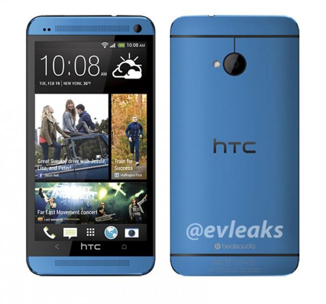 Laut diesem Renderbild will HTC sein Flaggschiff auch in der Farbe blau anbieten. Foto: Evleaks.