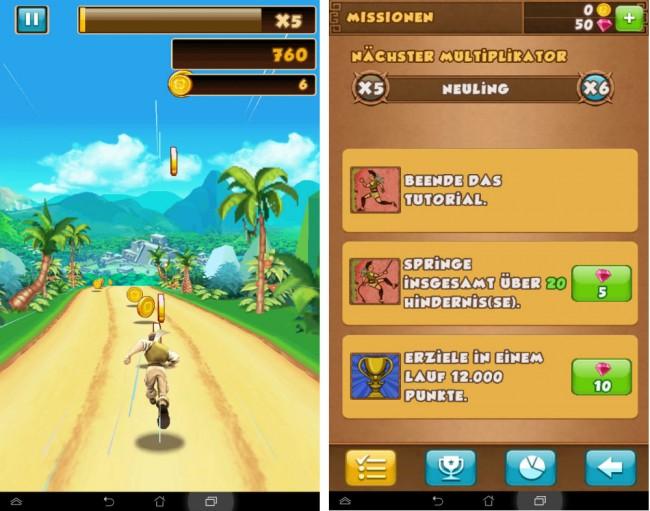 Du musst in Danger Dash laufen und dabei möglichst viel Münzen einsammeln – Edelsteine kriegst du, wenn du bestimmte Missionen erfüllst.