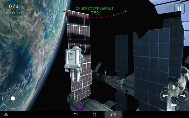 Auch Reparaturen an der ISS stehen auf deiner ToDo-Liste. Und dabei musst du sich sputen, denn der Sauerstoffvorrat reicht nicht lange.