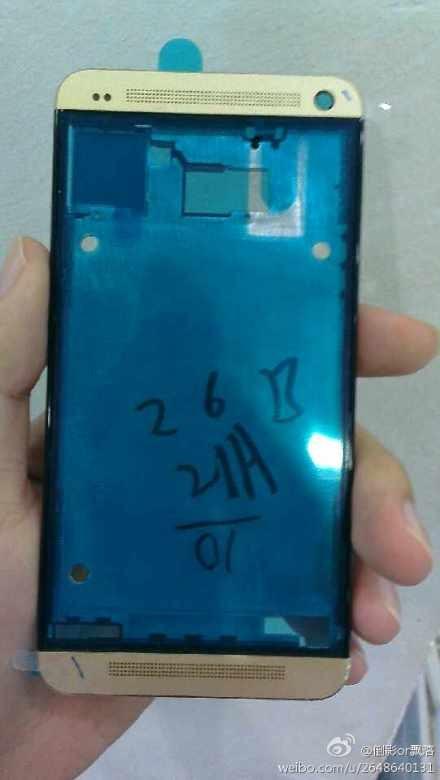 Das HTC One soll auch in einer goldenen Version auf den Markt kommen. Foto: weibo.com.