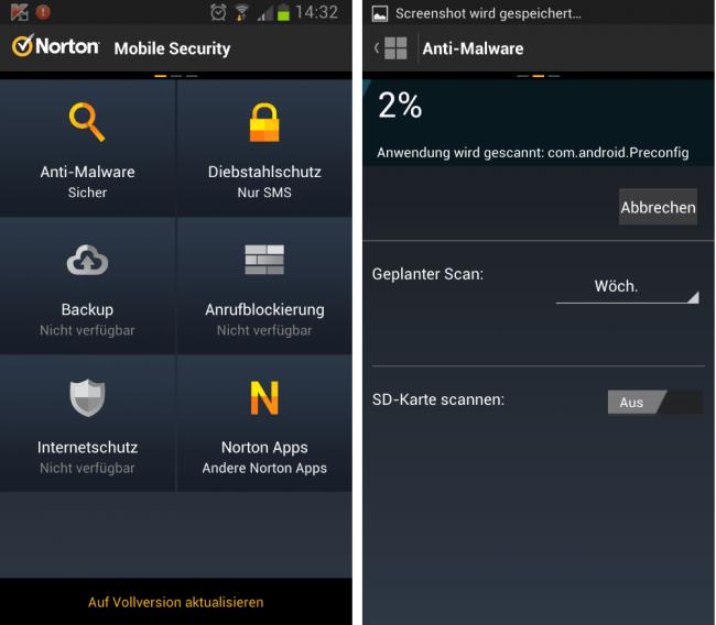 In der kostenlosen Version von Norton sind einige wichtige Features nicht verfügbar.