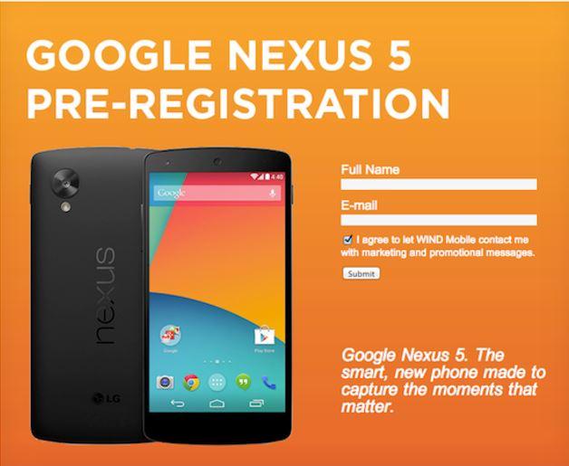 Bei Wind Mobile kann das Nexus 5 bereits vorbestellt werden. Grafik: The Verge.