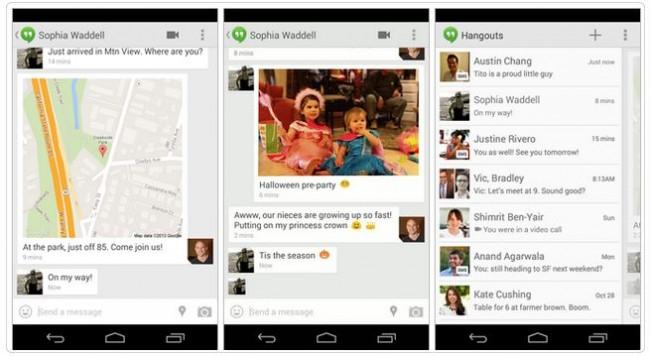 Die neue Version der Hangouts Anwendung kommt mit SMS Unterstützung. Foto: Android Headlines.