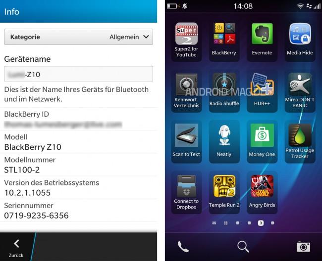 Auf diesem Z10 ist schon die neue Version und auch schon einige Android-Apps installiert.