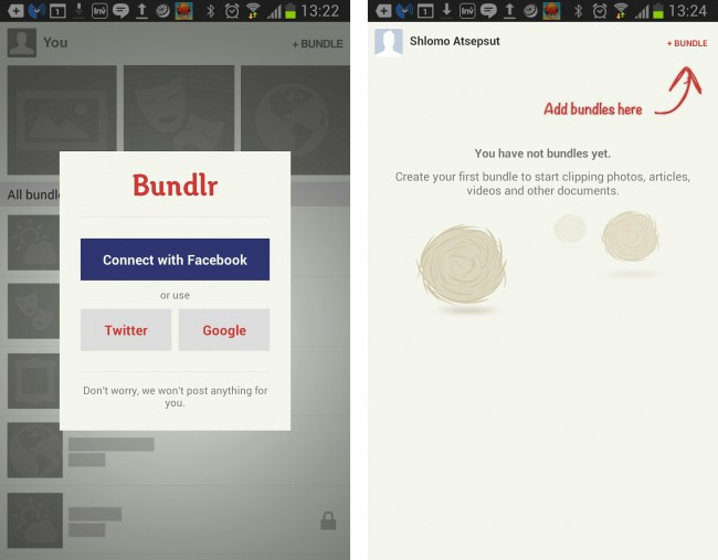 Facebook oder Goolge+ sind bei dieser App Pflicht.