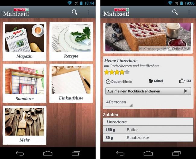 Die App SPAR Mahlzeit! versorgt dich mit schmackhaften Rezepten und gehaltvollen Artikeln.
