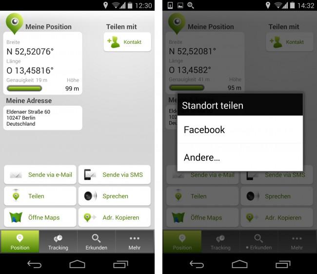 Intuitiv, einfach zu bedienen, schnell und punktgenau ermittelt die App Ihren Standort.
